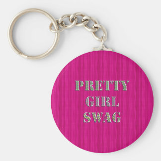 Pretty Girly Swag in Pink and wavy glitter zigzag Keychain