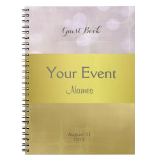 Pretty Gold and Pink Bokeh Guest Book Spiral Notebook