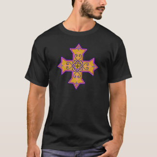 Pretty Gold and Pink Coptic Cross T-Shirt