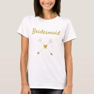 Pretty Gold and White Bridesmaid T-Shirt