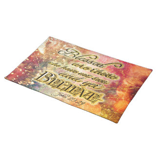 Pretty Gold Blessed Spiritual Scripture Christian Placemat