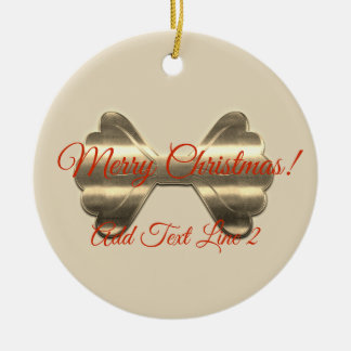 Pretty Gold Bow Merry Christmas Ornament