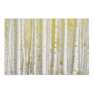 Pretty Gold-Brushed White Birch Tree Forest Poster