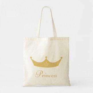 Pretty Gold Crown Customizable Princess Tote Bag