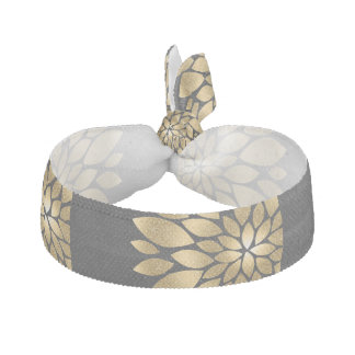 Pretty gold faux glitter abstract flower hair tie