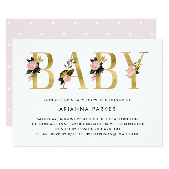 Pretty Gold Floral Text | Baby Shower Card