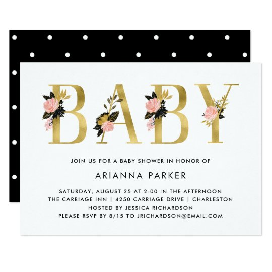 Pretty Gold Floral Text with Black | Baby Shower Card