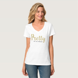 Pretty Gold Glitter and Black V-Neck T-Shirt