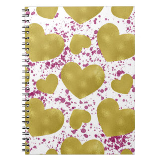 Pretty Gold Hearts Journal Notebook for Journaling