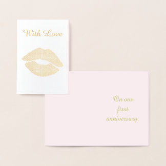 Pretty Gold Kiss First Anniversary With Love Foil Card