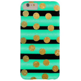 Pretty Gold Polka Dot Turquoise and Black Stripe Barely There iPhone 6 Plus Case