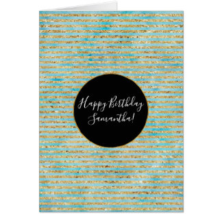 Pretty Gold Sparkle Aqua Watercolor Stripes Card