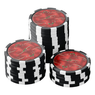 Pretty Gold Swirls With Holly & Berries Poker Chips