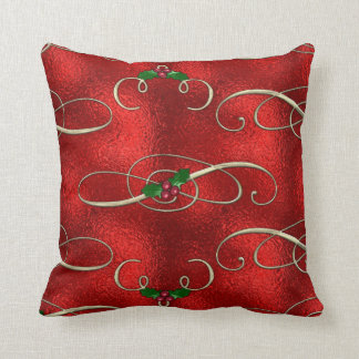 Pretty Gold Swirls With Holly & Berries Throw Pillow