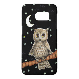 Pretty Golden Eyed Owl on Branch Necklace Moon Samsung Galaxy S7 Case