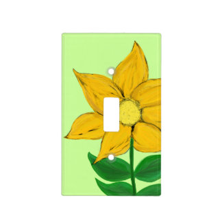Pretty Golden Yellow Floral Light Switch Cover