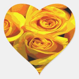 Pretty Golden Yellow Roses Heart Sticker
