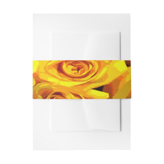 Pretty Golden Yellow Roses Invitation Belly Band