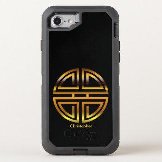 Pretty Golden Yellow Round Longevity Motif OtterBox Defender iPhone 8/7 Case