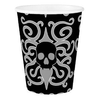 Pretty goth skull design paper cup