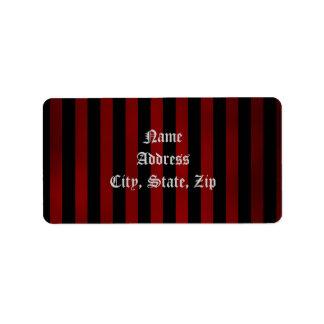 Pretty gothic striped address label