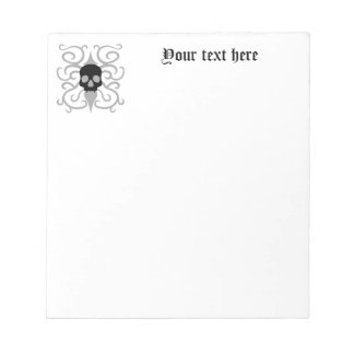 Pretty gothic swirly skull notepad