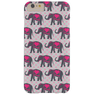 Pretty Gray Hot Pink Elephants on pink polka dots Barely There iPhone 6 Plus Case