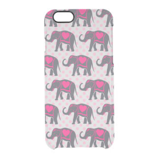Pretty Gray Hot Pink Elephants on pink polka dots Clear iPhone 6/6S Case