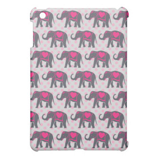 Pretty Gray Hot Pink Elephants on pink polka dots Cover For The iPad Mini