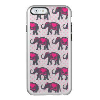 Pretty Gray Hot Pink Elephants on pink polka dots Incipio Feather® Shine iPhone 6 Case