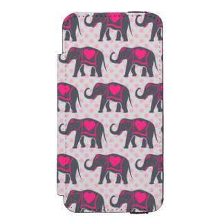 Pretty Gray Hot Pink Elephants on pink polka dots Incipio Watson™ iPhone 5 Wallet Case