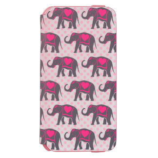 Pretty Gray Hot Pink Elephants on pink polka dots Incipio Watson™ iPhone 6 Wallet Case