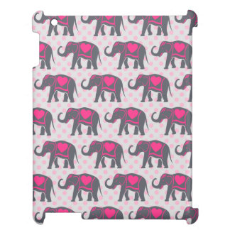 Pretty Gray Hot Pink Elephants on pink polka dots iPad Covers
