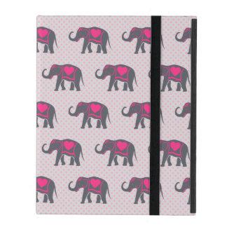 Pretty Gray Hot Pink Elephants on pink polka dots iPad Folio Case
