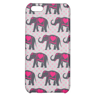 Pretty Gray Hot Pink Elephants on pink polka dots iPhone 5C Cover