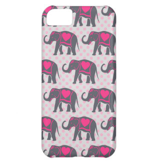 Pretty Gray Hot Pink Elephants on pink polka dots iPhone 5C Covers