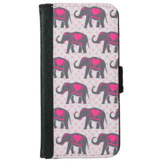Pretty Gray Hot Pink Elephants on pink polka dots iPhone 6 Wallet Case