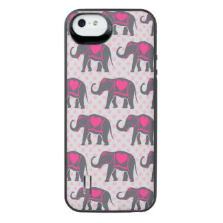 Pretty Gray Hot Pink Elephants on pink polka dots iPhone SE/5/5s Battery Case