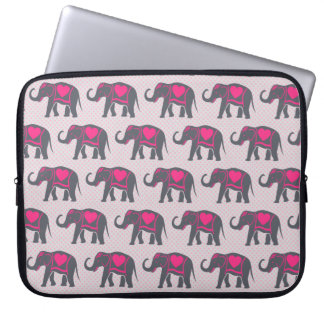 Pretty Gray Hot Pink Elephants on pink polka dots Laptop Sleeve