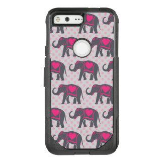Pretty Gray Hot Pink Elephants on pink polka dots OtterBox Commuter Google Pixel Case