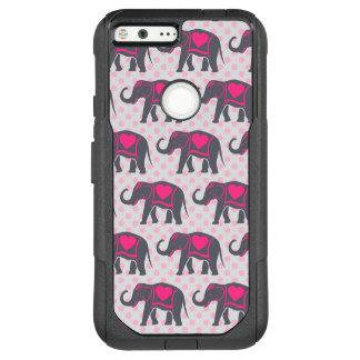 Pretty Gray Hot Pink Elephants on pink polka dots OtterBox Commuter Google Pixel XL Case