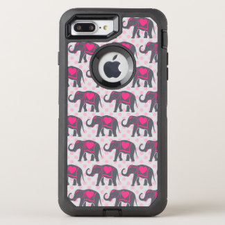 Pretty Gray Hot Pink Elephants on pink polka dots OtterBox Defender iPhone 7 Plus Case