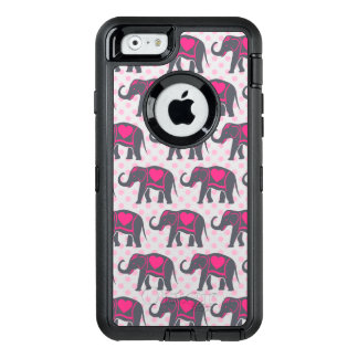 Pretty Gray Hot Pink Elephants on pink polka dots OtterBox iPhone 6/6s Case