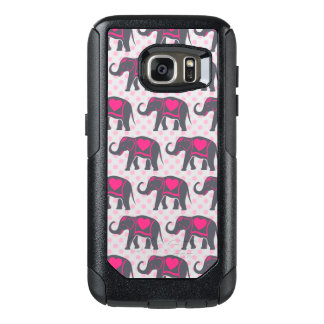 Pretty Gray Hot Pink Elephants on pink polka dots OtterBox Samsung Galaxy S7 Case