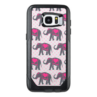 Pretty Gray Hot Pink Elephants on pink polka dots OtterBox Samsung Galaxy S7 Edge Case