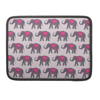 Pretty Gray Hot Pink Elephants on pink polka dots Sleeve For MacBook Pro