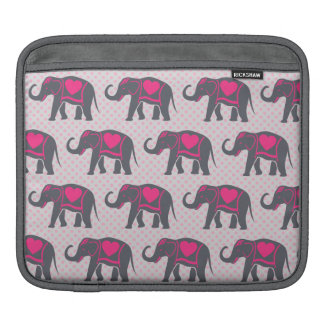 Pretty Gray Hot Pink Elephants on pink polka dots Sleeves For iPads