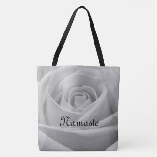 Pretty Gray Rose Namaste design Tote Bag