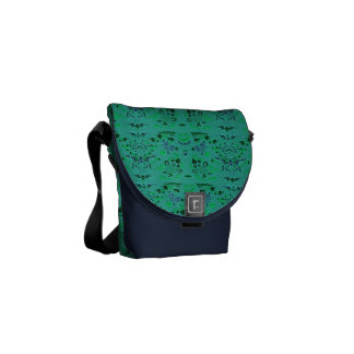 Pretty Green and Blue Floral Commuter Bags