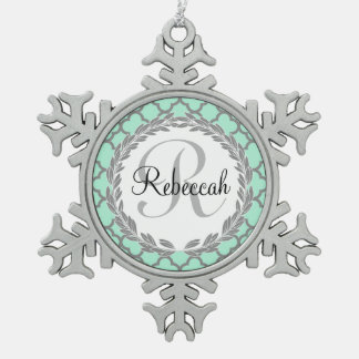 Pretty Green and Gray Quatrefoil Monogram Name Pewter Snowflake Ornament